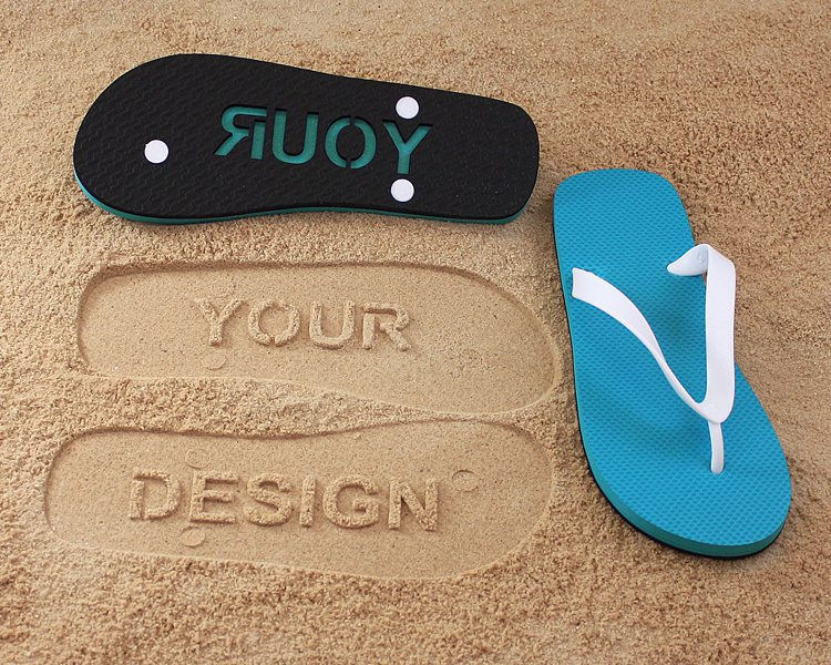 Flip flops with personalized bottoms to stamp in the beach sand for cruise gift ideas.