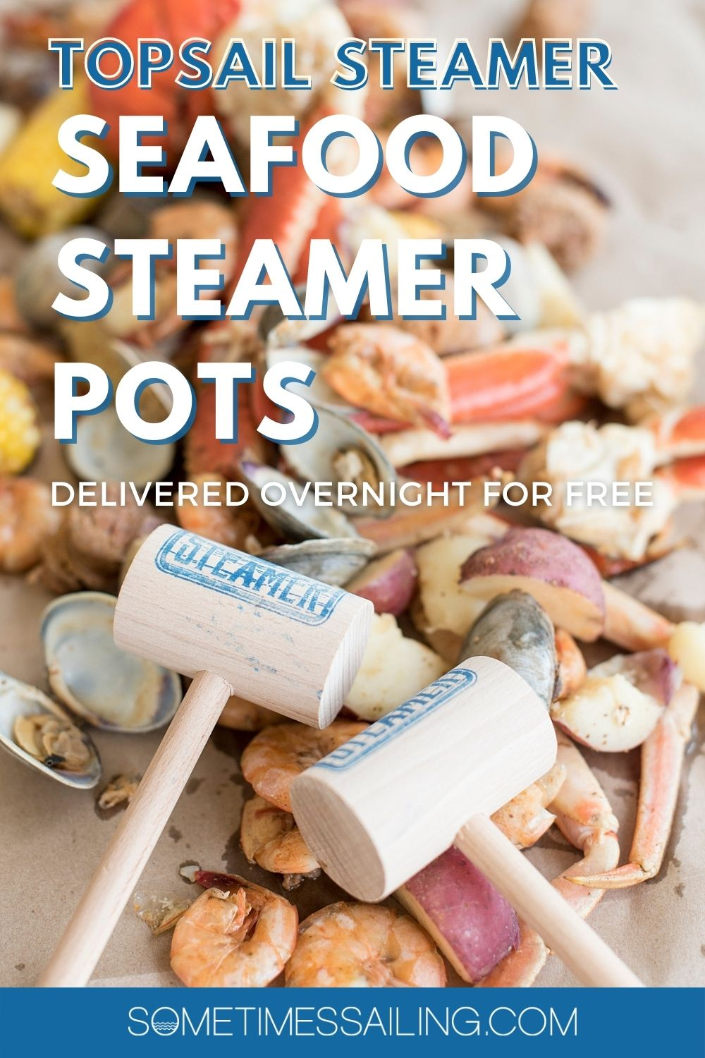 Pinterest image for Topsail Steamer with a seafood photo behind the text.