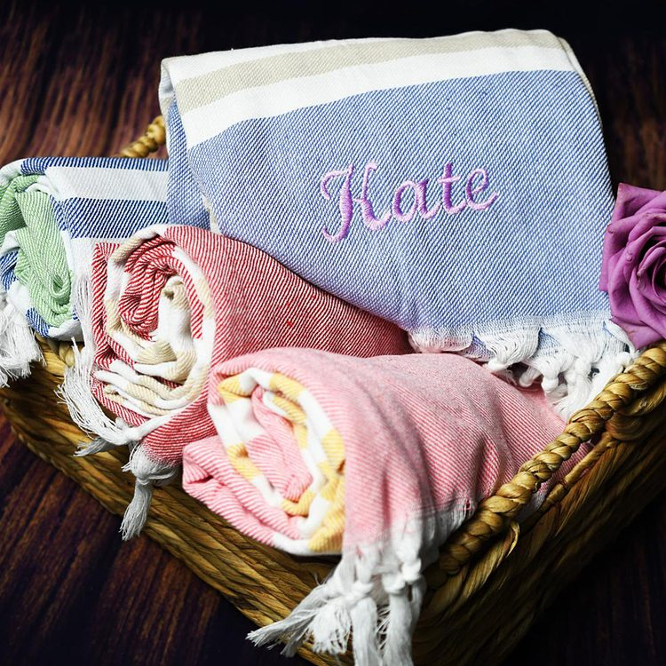 Personalized Turkish bath towel from TheCharmingStudio on Etsy for great cruise gifts.