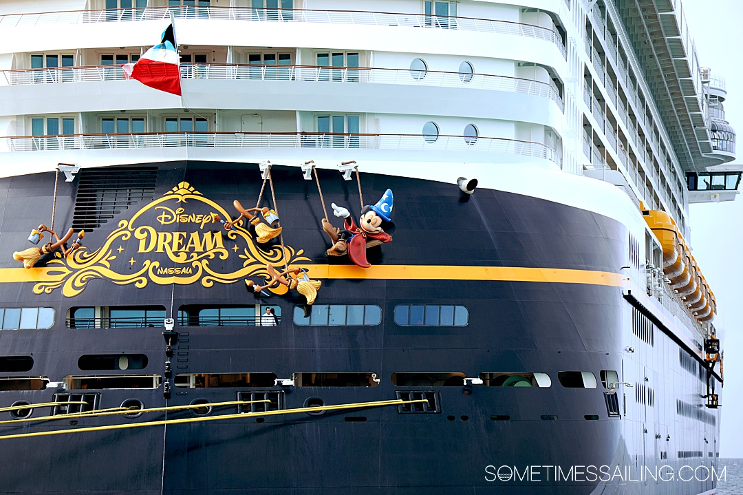 The back of the Disney Dream Cruise ship with Sorcerer Mickey on the back.