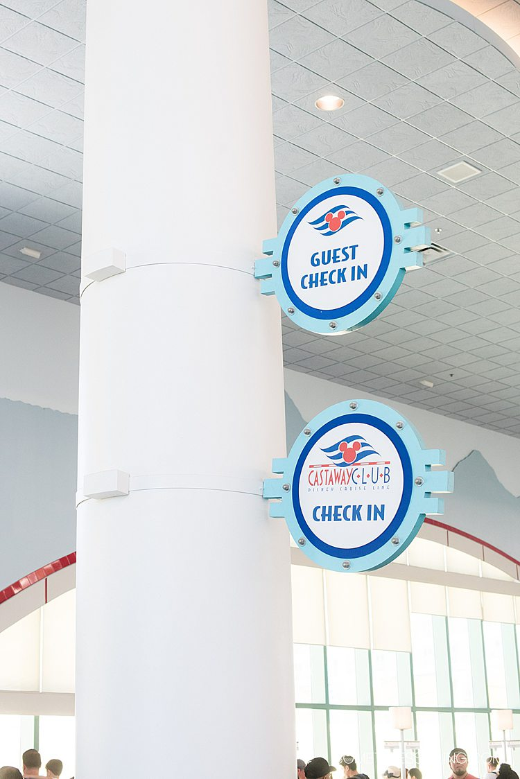 Photo of check in for Disney Cruise Line ship at Port Canaveral U.S. Cruise Port terminal.