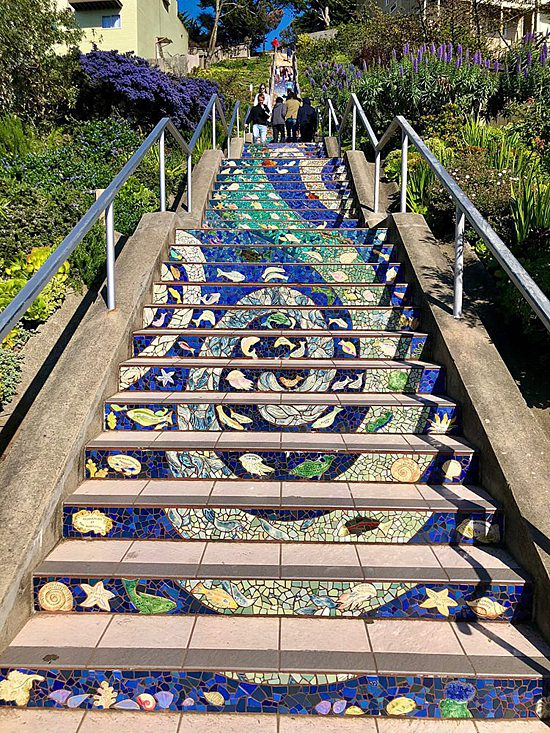 Stairs with an ocean mosaic in San Francisco, CA, on the United States Cruise Ports map!