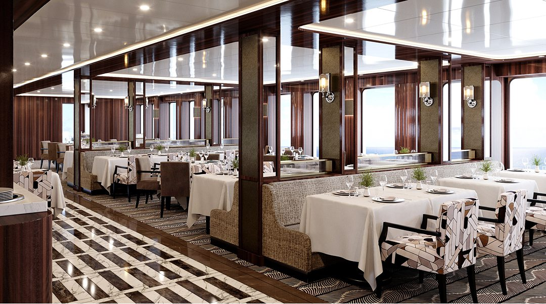 Dining area aboard the World Navigator, a luxury cruise ship, part of Atlas Ocean Voyages.