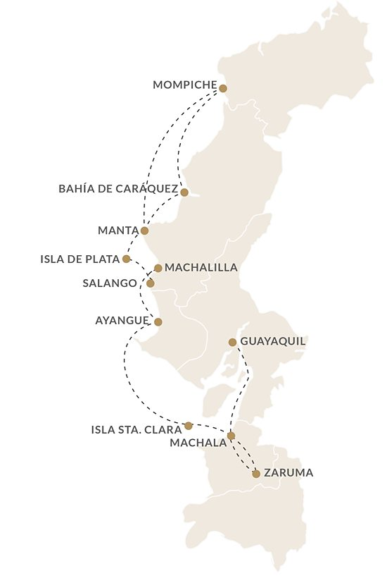 Kontiki Expeditions map of their northern route itinerary on the coast of Ecuador.