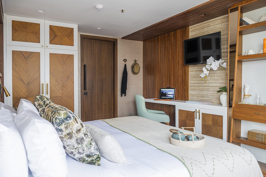 Luxury stateroom on a Kontiki Expeditions Ecuador cruise in South America.