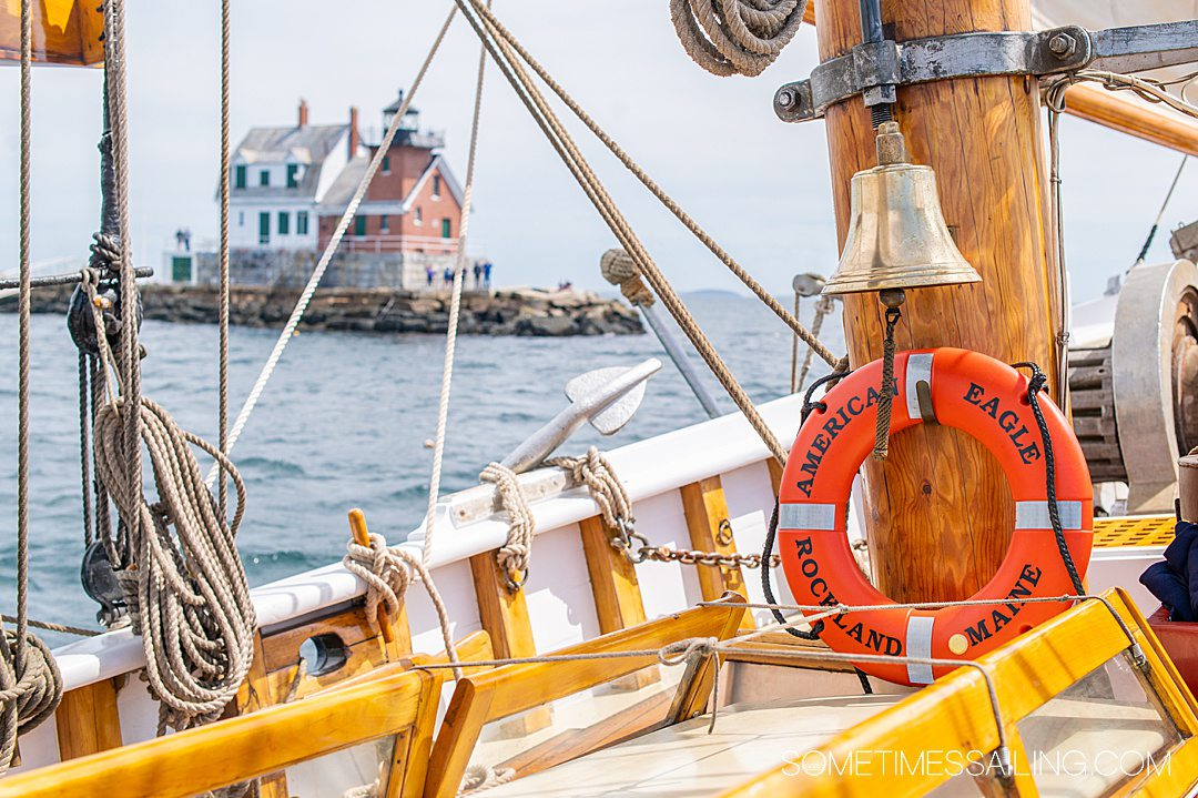 The top deck of American Eagle schooner that sails from Rockland Maine, indicated on the orange lifesaver in the photo.