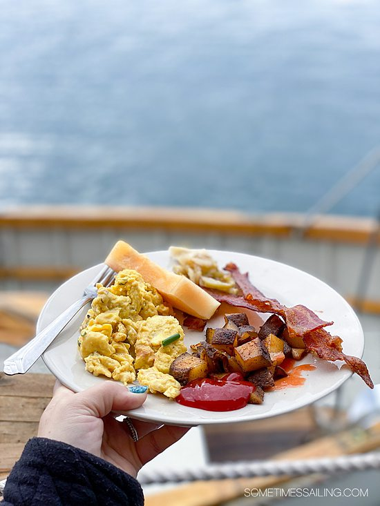 Plate of breakfast food on a Maine Windjammer cruise experience.