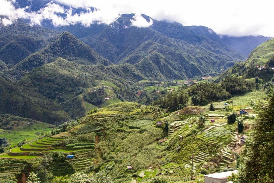 The undulating hills and rice terraces of Sapa, Vietnam.
