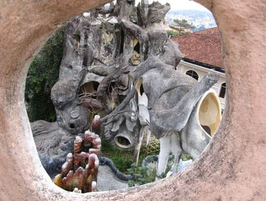 A view of the crazy house, Dalat, through a hole.