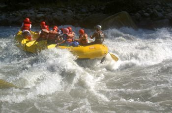 Rafting the white water waves...