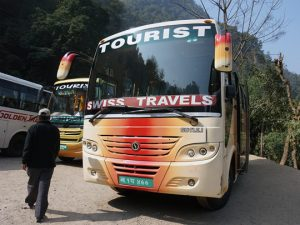 Tourist bus in Southeast Asia.