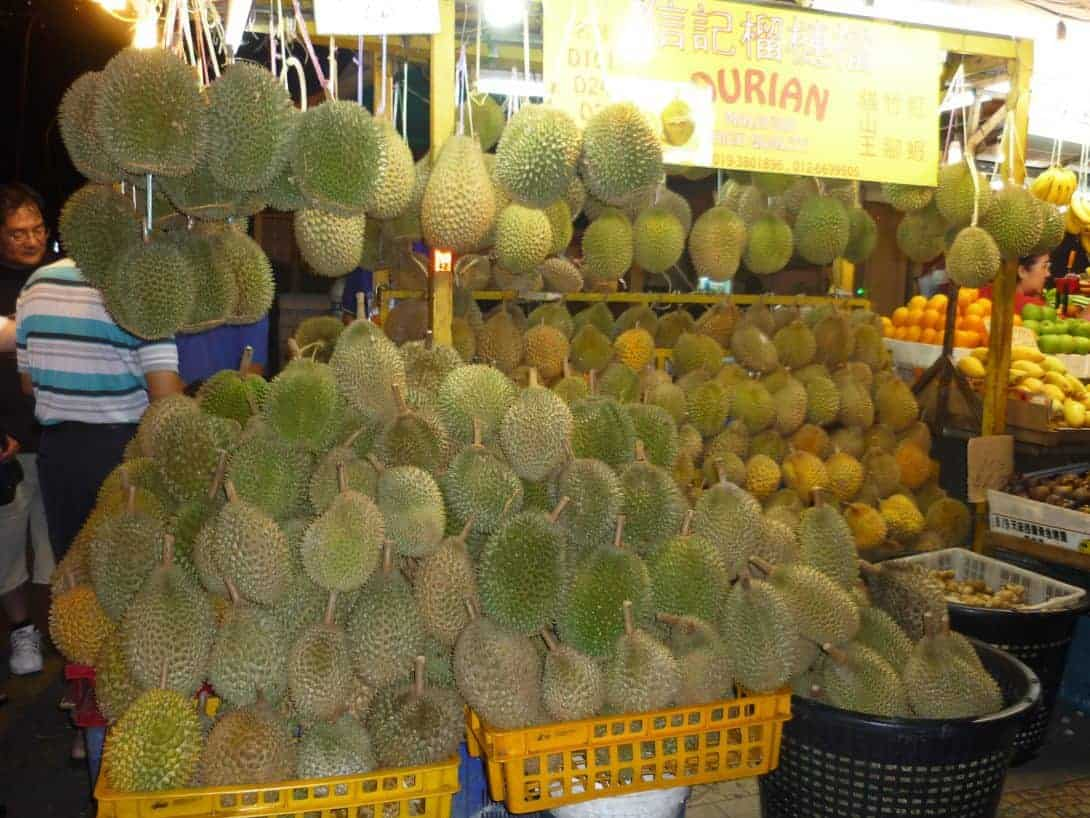 Durian for sale in Kuala Lumpur, Malaysia - The smelliest of all the Asian fruits!