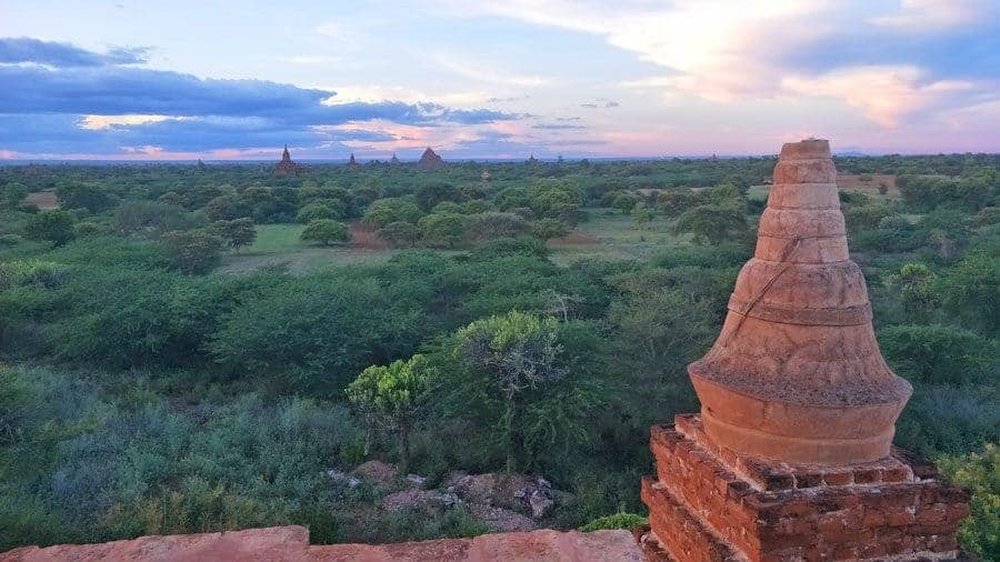 A lonely temple to watch the sunset in Bagan, Myanmar.