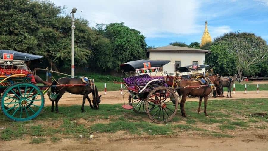 Traditional horse and carriage in Bagan - we're not a fan.
