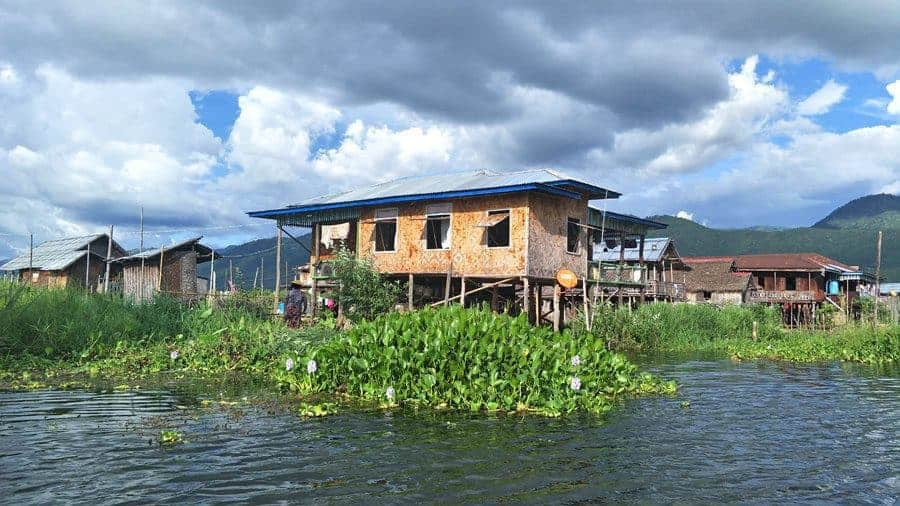 A floating village on Inle Lake.