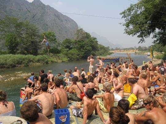 Tubing in Vang Vieng in its Hey Day!