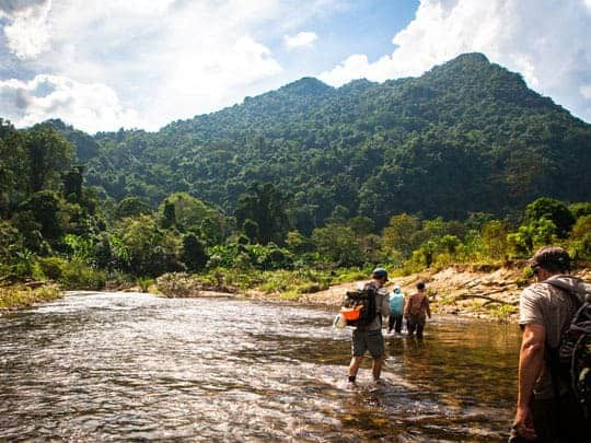 Backpackers wade through the river on the way to the caves from Phong Nha Farmstay