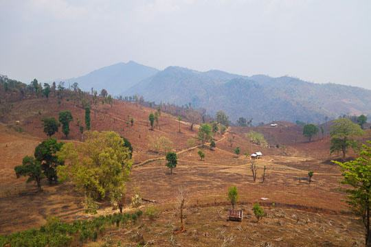 The View Across a Dry Valley in Hsipaw