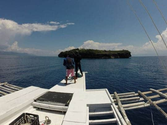The view from a dive boat on its way to Pescador Island, Moalboal, Philippines
