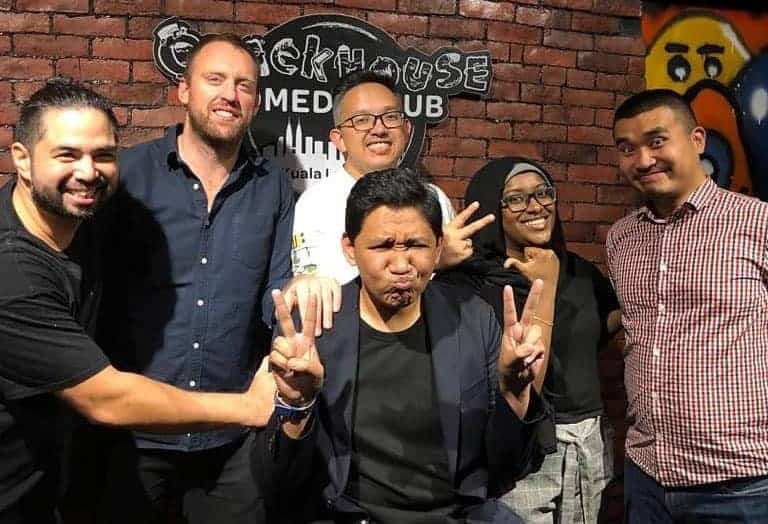 Some comedians at the Crackhouse Comedy Club, KL.