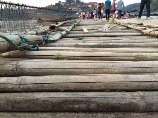The wooden bridge in Sangkhlaburi, shot very close to the bamboo floor