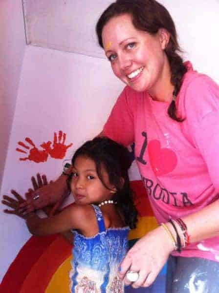 Getting help painting the classroom