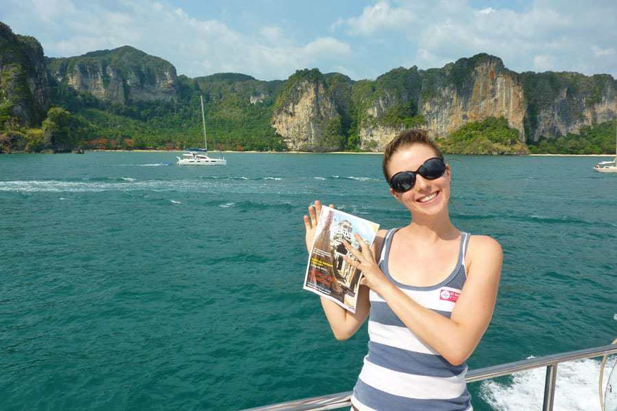 Nikki with one of the early copies of South East Asia Backpacker Magazine.