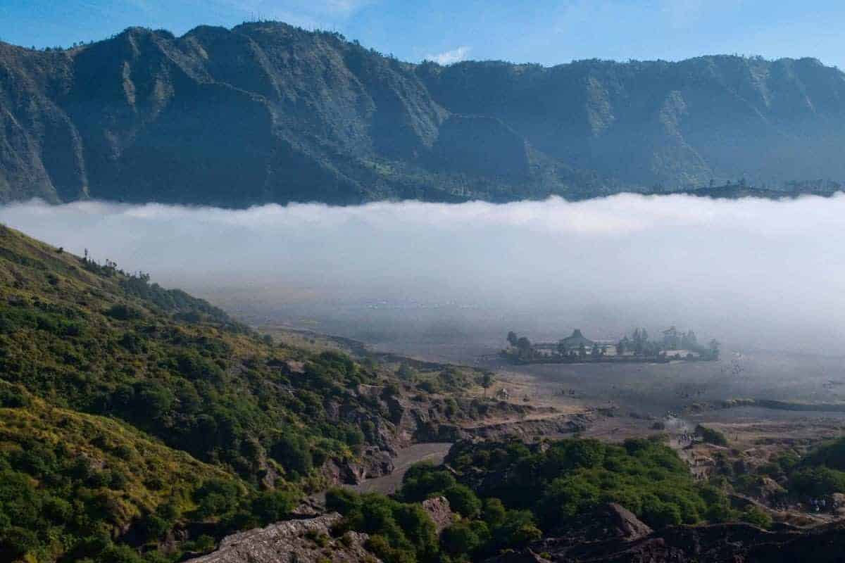 Mist over a volcano in Java