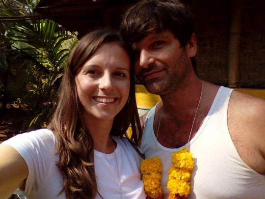 Nikki and Dave on day 1, Becoming a Yoga Teacher in India