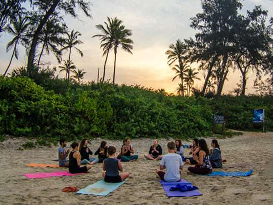 Meditation at the beach, Becoming a Yoga Teacher in India