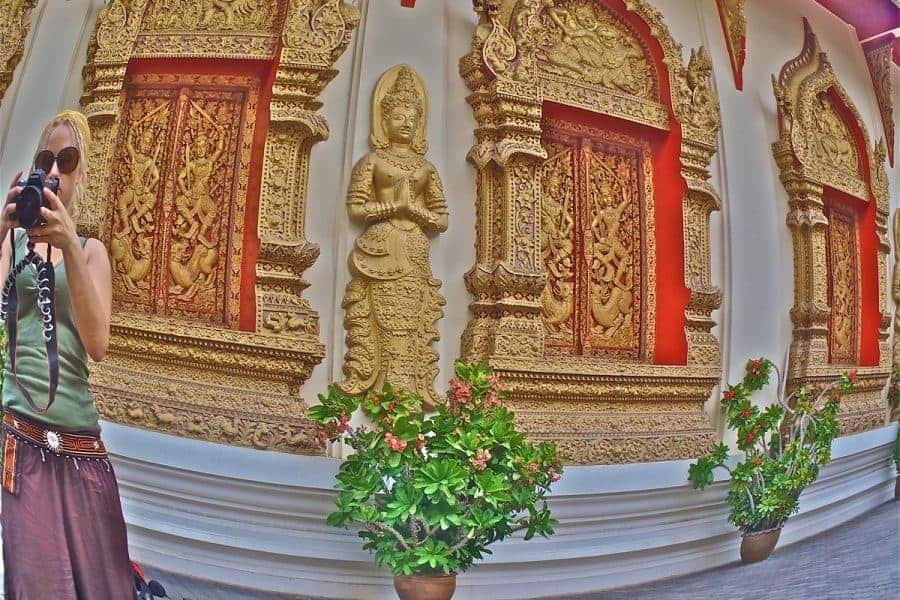 The Walls of a Temple in Chiang Mai Seen Through a Fish Eye Lens