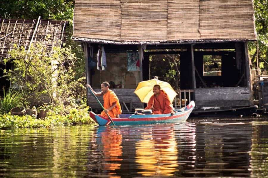 Two Monks On a Boat in Battambang
