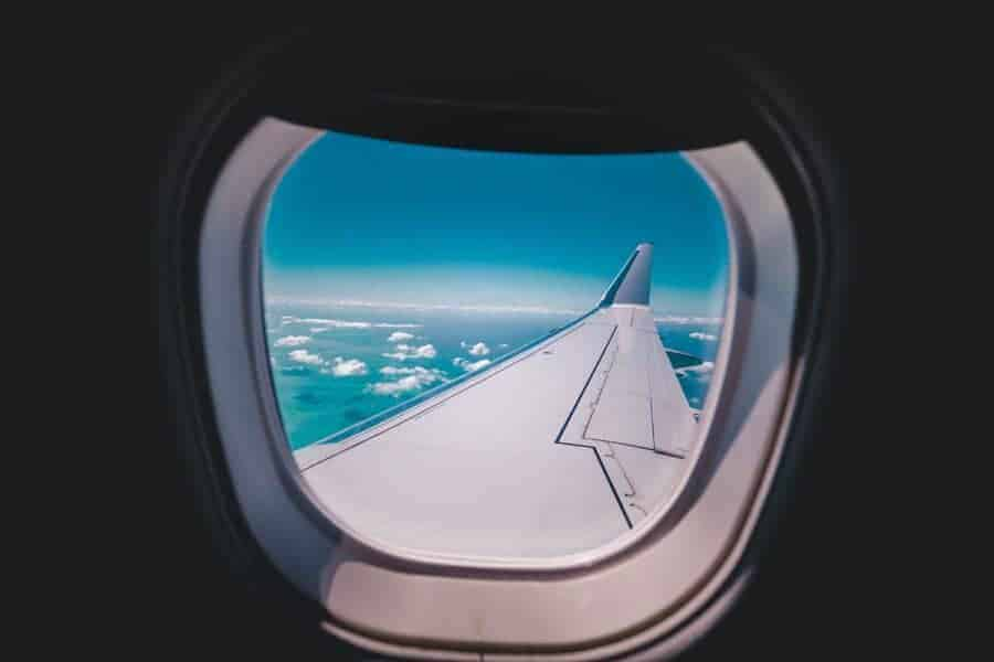 Looking out of the window on a flight to Southeast Asia.