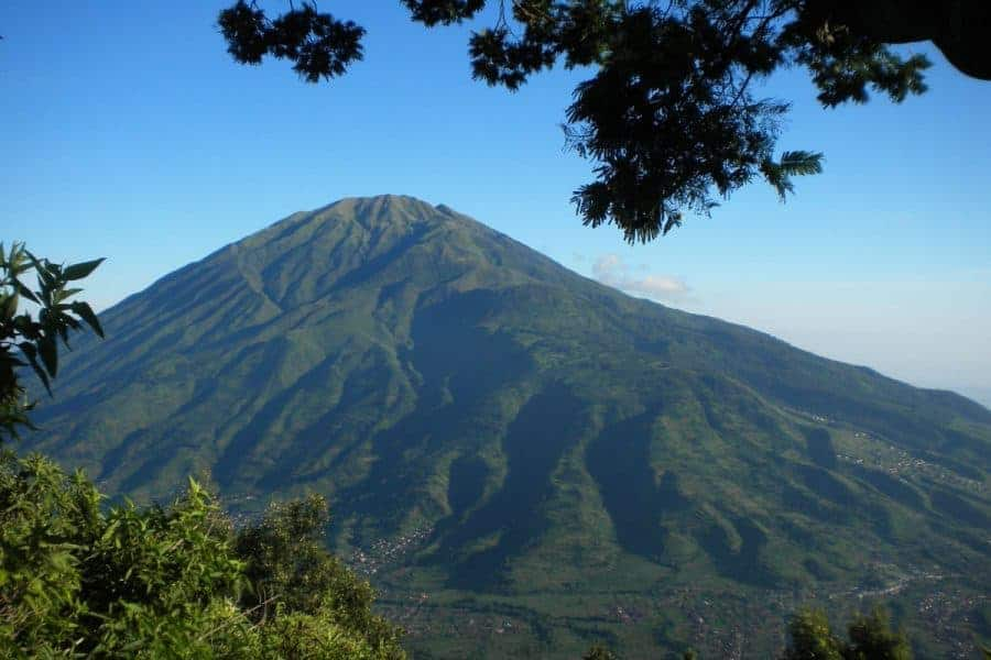 View of Mount Bromo during the day from the ground.