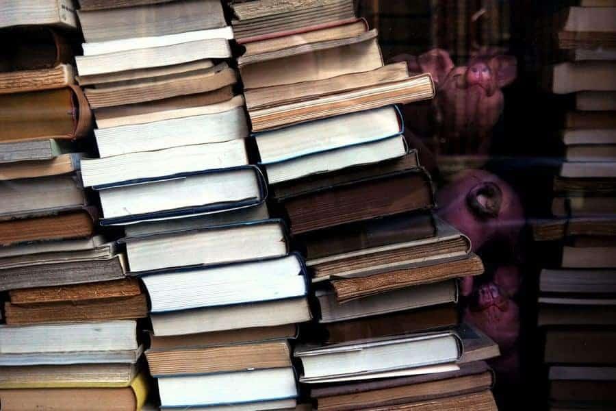 Old books piled up.