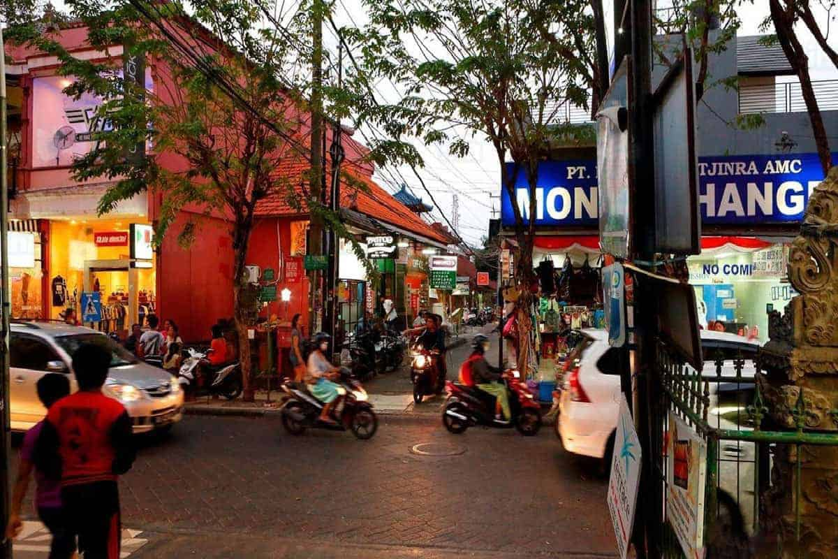 The busy streets of Kuta, Bali.