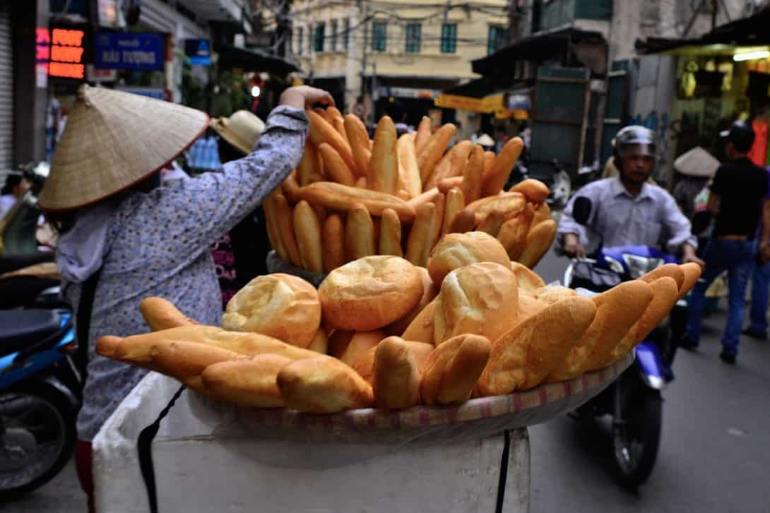 Bread being sold on the streets in Vietnam