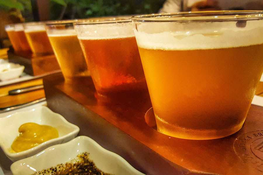 Delicious beers and snacks on the Original Craft Beer Tour, Hanoi.