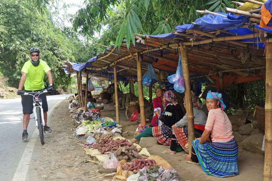 A stop at the market during a cycle tour of North Vietnam.