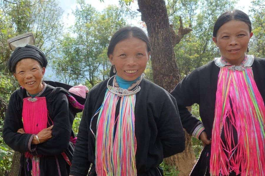 Meeting ethnic minority people on a North Vietnam Cycling Tour.
