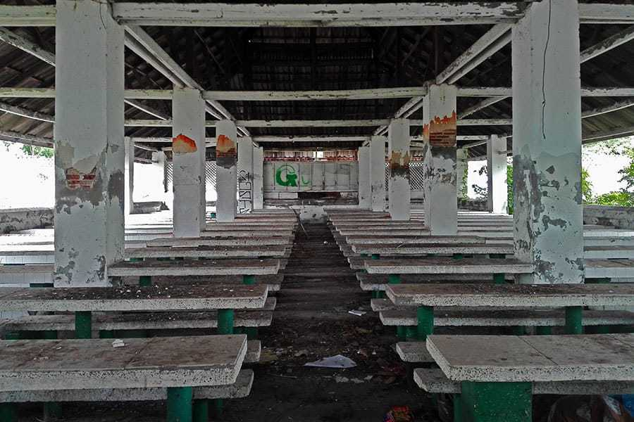 Long-shot-across-the-dining-room-at-Chiang-Mai's-abandoned-women's-prison