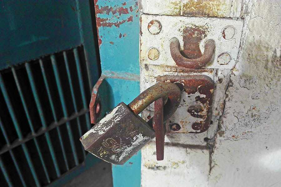 The-lock-on-a-cell-door-at-Chiang-Mai's-disused-women's-prison