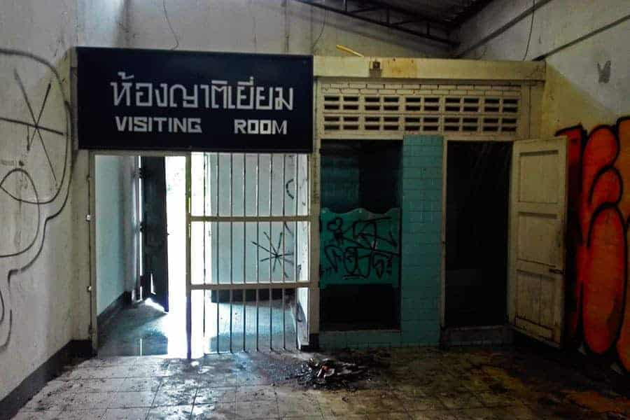 Visiting-room-and-toilets-at-the-abandoned-women's-prison,-Chiang-Mai.-Thailand