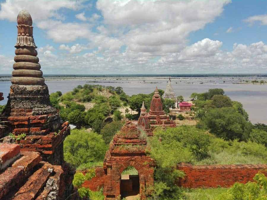 Bagan Temples with the vast Irrawaddy in the distance.