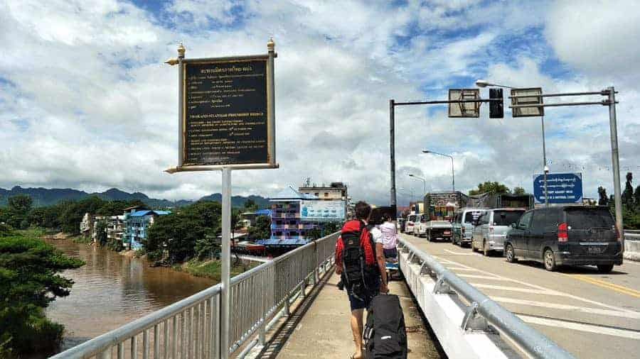 A backpacker crosses the border from Mae Sot in Thailand to Mayawaddy in Myanmar.