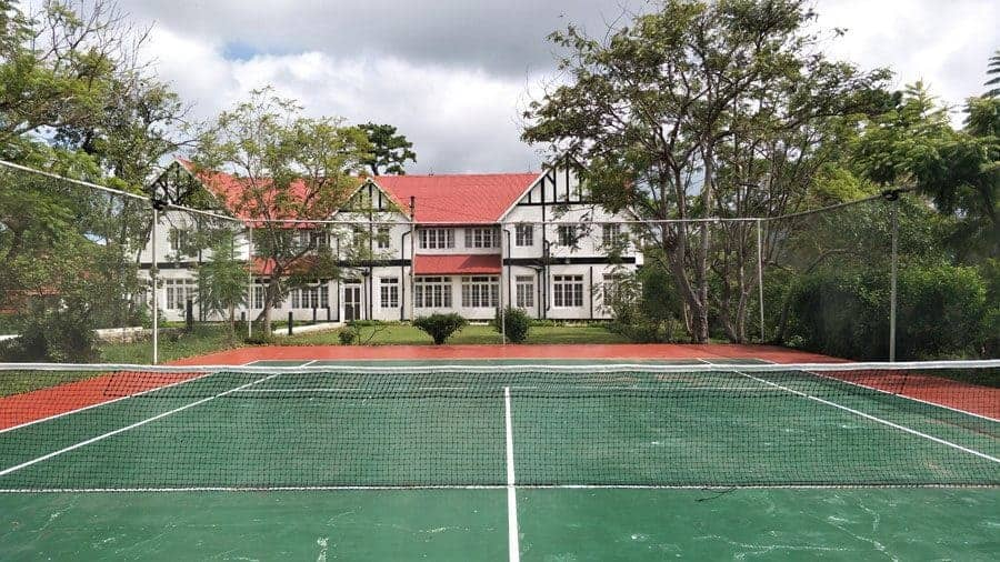 The tennis courts at Kalaw Heritage Hotel, Myanmar