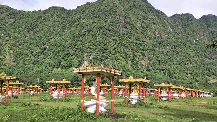 Rows and rows of Buddha statues in Lumbini Garden, Hpa An.