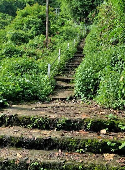 The start of the long staircase leading up Mount Zwegabin, Hpa An.