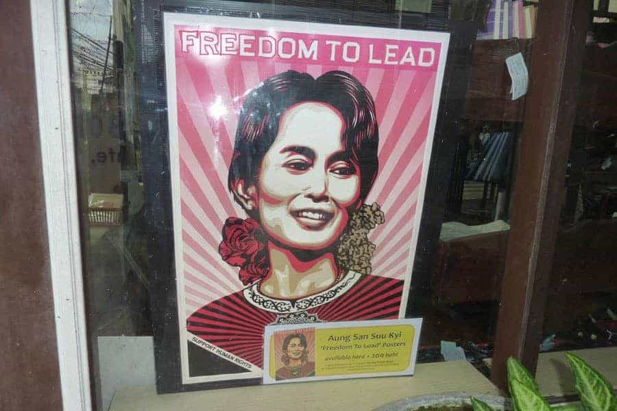 A poster of Aung San Su Kyi in a shop window in Mae Sot six years ago.