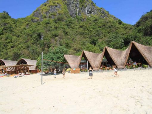Playing volleyball on the beach at Castaways Island, Vietnam.